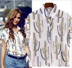 2017 summer women's shirt loose chiffon shirt bats short sleeve lapel white S