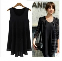 2017 new large fat mm sling chiffon vest skirt was thin sleeveless bottoming shirt black S