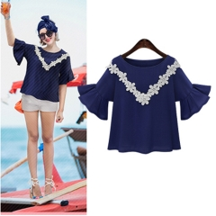 2017 summer new fashion fat MM was thin lace lace trumpet sleeves loose T-shirt navy blue XL