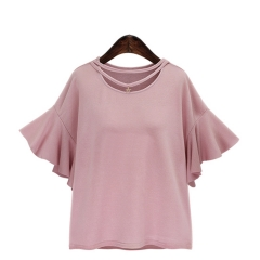 2017 summer new fat MM large color solid lotus leaf sleeve round neck T shirt pink XL