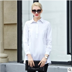 2016 spring new solid color long sets of long sleeves temperament white S