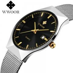 top luxury brand WWOOR watches men quartz-watch stainless steel mesh strap ultra thin sliver+black