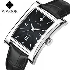 Luxury Brand WWOOR Men's Watches Quartz Watch Male Wristwatch leather Strap Waterproof Clocks sliver+black