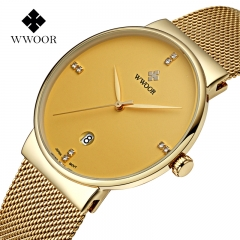Luxury  Watches men Stainless Steel Mesh strap Quartz watch Ultra Thin Dial Men's Watches waterproof black