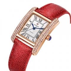 WWOOR  Fashion Women Watches Quartz Watch Diamonds Dress Ladies Casual Crystal Wristwatch Red+golden