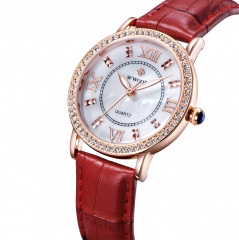 WWOOR Ladies Luxury Quartz Sport Rose Gold Women Watch Genuine Leather Wristwatch Diamonds Watches red+golden
