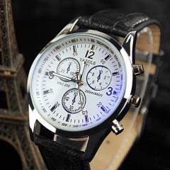 Yazole Men watch  Watches Quartz Clock Fashion Leather belts Watch Cheap Sports wristwatch black+white one size