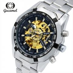 gucamel men automatic mechanical watch Dial diameter 40mm hollow steel business Watch WHITE GOLD STEEL