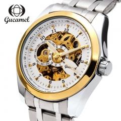 Gucamel Men Skeleton Mechanical Watch Stainless Steel Top Brands Luxury Man Watch  Wristwatch white gold steel