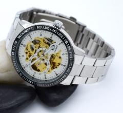 Gucamel  Watch Mens Watches Top Brand Luxury Montre Clock Men Automatic Skeleton Watch white gold steel