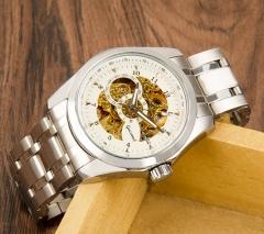 Gucamel Fashion Men Mechanical Watch Winner Golden Luxury Automatic Classic Skeleton Wristwatch white gold steel