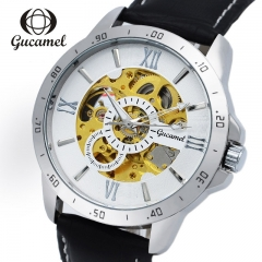 mechanical watch Top Brand Luxury army wrist watches for men leather skeleton white gold leather