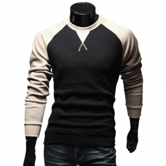 Casual Patchwork Round Neck Male Long Sleeve Shirt KHAKI m