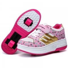 Girls and boys led automatic prototype two-wheel skate wheel contact button pink 27