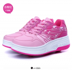 Paragraphs contact button automatic double men and women leather face blasting walking shoes pink 27