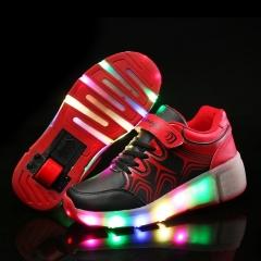 Child LED Light up heely's wheelys Roller Skate Shoes For Girls Children Kids Boy Led Sneakers Red 27