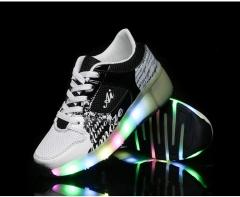 LED single wheel shoes for men and women children adult automatic money wheelsskates in winter black 27