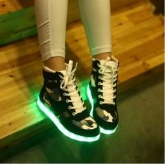 USB Charging Luminous Shoes Shine LED Lights Shoes Led Bar KTV Night Street Shoes black 35