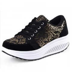 Print flower women casual shoes fashion women shoes comfortable leisure Shoes Breathable Swing Shoes Black 35