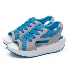 Fashion Women Shoes Spring Summer Autumn Swing Female Breathable Mesh Shoes Women Casual Shoes Blue 35
