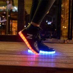 Girls shoes simulation glowing light up basket led luminous shoes adult femme flashing led shoes Black 35