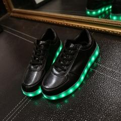 LED unisexe usb Charging Lights shoes Emitting Luminous Casual Shoe Men Women Couple Shoes Black 34