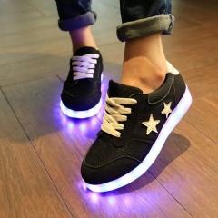 Led Shoes Glowing 7 Colors Men Women Fashion Luminous Led Light UP Shoes for Adults Basket LED Shoes Black 36