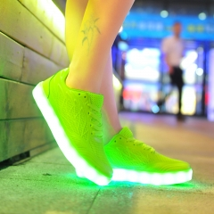 2016 women light up led luminous shoes color glowing casual fashion for lady adults neon basket Green 35