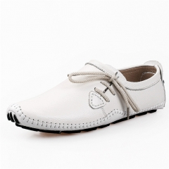 Men Flats Genuine Leather Slip On Men Loafers Moccasins Sapatos Masculinos Social Zapatos Hombre White 38
