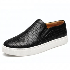 Men Plaited Shoes Slip-on Casual Shoes Bright Round Toe Loafers For Men Black 39