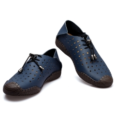 Genuine Leather Men Flats shoes summer shoes comfortable Outdoor shoes Soft men Loafers casual shoes Blue 38