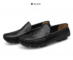 High Quality Genuine Leather Men Shoes Soft Moccasins Loafers Fashion Brand Men Breathable Shoes Black 36
