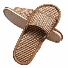 Durable sandals men Summer House Indoor Antiskid Slippers Bamboo Leisure Man Women Yellow 7