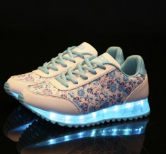 Recharge Led Luminous Shoes Casual Shoes For Women floral  LED Lights Up USB Charging Shoe Chaussure Blue 35
