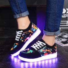 Women Recharge Colorful Glowing Shoes Lights Up Luminous Shoes Fashion Led Sneakers black 35