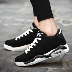 Korea Style Sneakers Lovers Leisure Running Shoes Lace Up Basketball Shoes For Men black 36