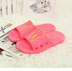 Household bathroom antiskid slippers indoor couples plastic floor summer cool slippers at home red 36
