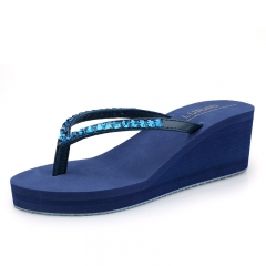 Ms antiskid brick flip-flops water with high summer beach sandals clamp fashion slippers shoes Blue 35