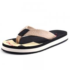 Woven men's flip-flops summer sandals, male beach shoes non-skid thick bottom sandals Black 39