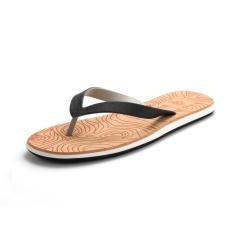 Wood grain men summer sandals flip-flops antiskid flat sandals flip-flops White 37