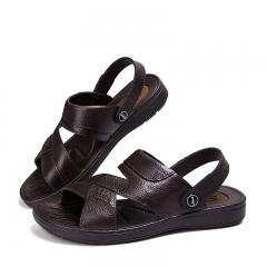 Summer Elderly Gentleman Leisure Slip-Ons Slippers Sandals Soft Bottom Antiskid For old man 01 Black 39