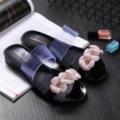 Flower women sandals slippers sandals clogs shoes women breathable beach shoes Black 36