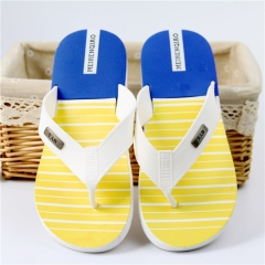Cool new household EVA slippers anti-skid bathroom slippers stripes flip-flops Yellow 39
