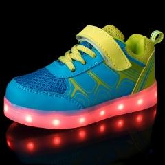 Velcro usb charging 7 colour leds luminous flash children shine shoes sneakers men and women blue 25