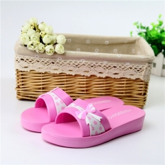 In 2016 the new household cool slippers bowknot anti-skid bathroom female thick soles slippers Rose red 35
