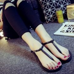 Summer Female Sandals Tide Model Antiskid Classic Sandals Flip-Flops Slippers Black S(35-36)