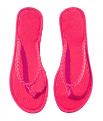 Summer slippers woven candy color flip-flops canvas tide beach female cool slippers Rose red S(35-36)