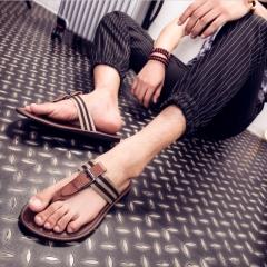 Cool summer men slippers leather flip-flops tide euramerican fashion beach shoes Brown 40