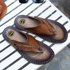 Summer flip-flops leather slippers men casual men's slippers antiskid trend cool slippers Brown 39