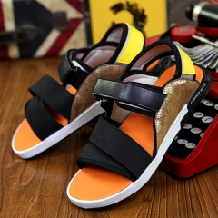 Sool Summer Men Leather Sandals Tide Antiskid G-DRAGON Personality Slippers Orange 39